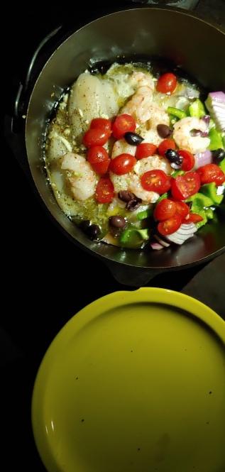 cast-iron fish and veggies